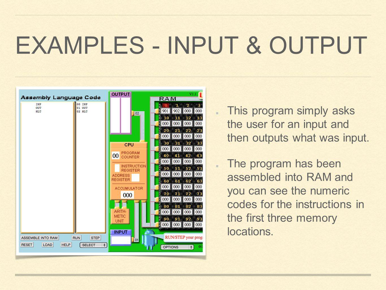 Examples - input & output