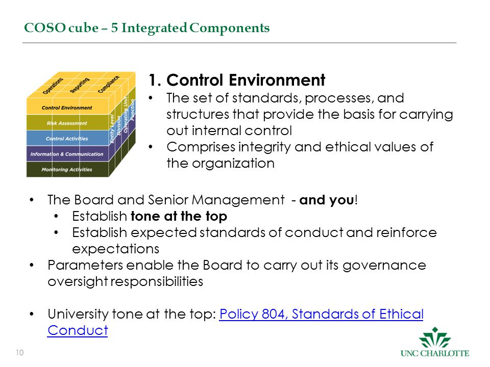 1. Control Environment COSO cube – 5 Integrated Components