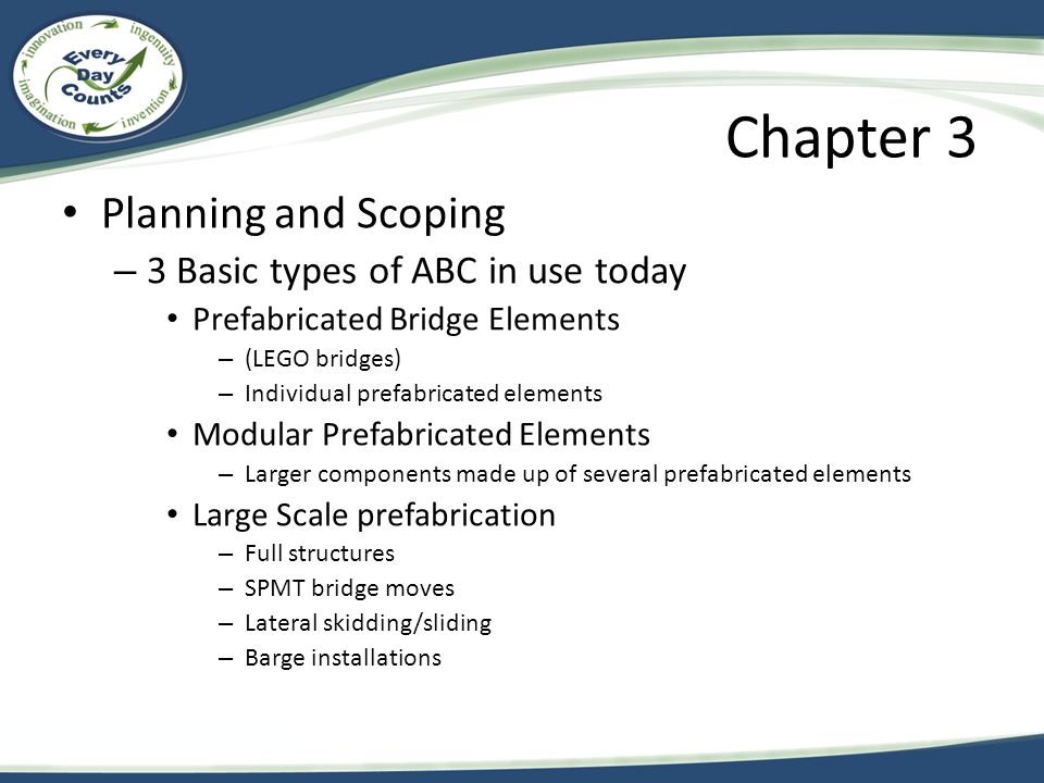 Chapter 3 Planning and Scoping 3 Basic types of ABC in use today