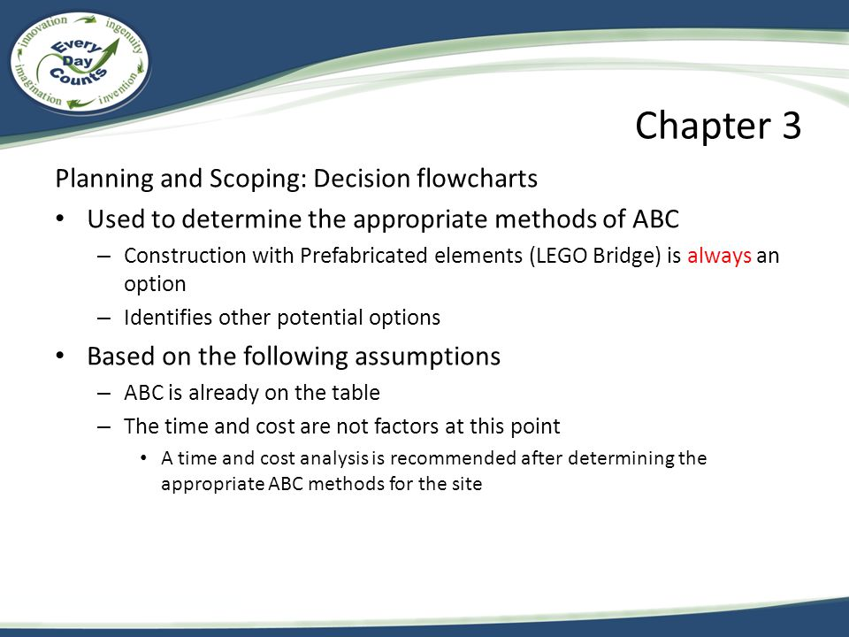 Chapter 3 Planning and Scoping: Decision flowcharts