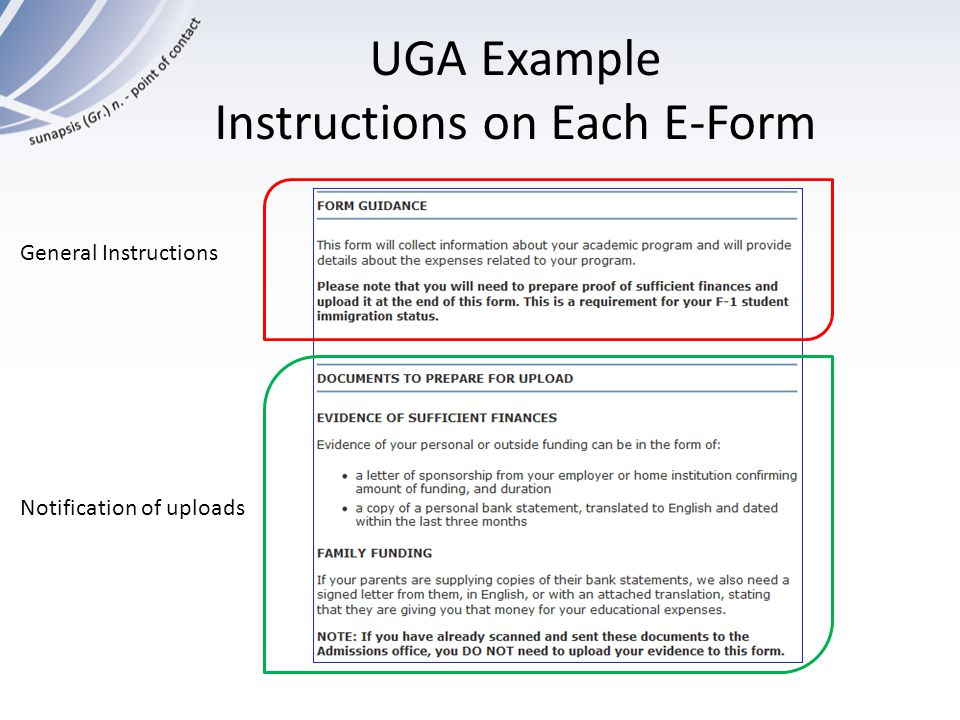 UGA Example Instructions on Each E-Form