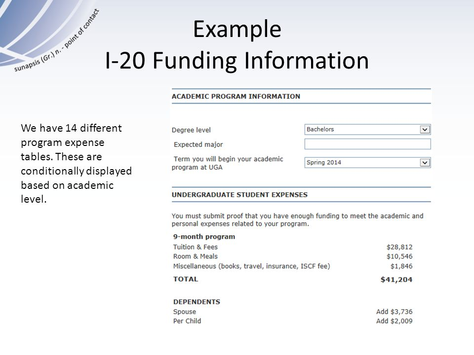 Example I-20 Funding Information