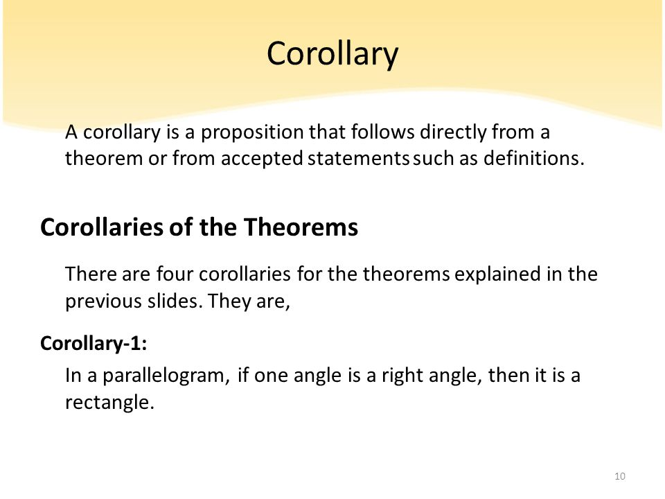 Corollary Corollaries of the Theorems