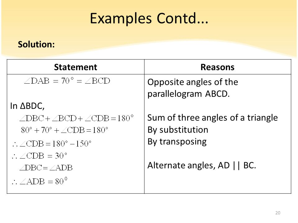 Examples Contd... Solution: Statement Reasons In ∆BDC,