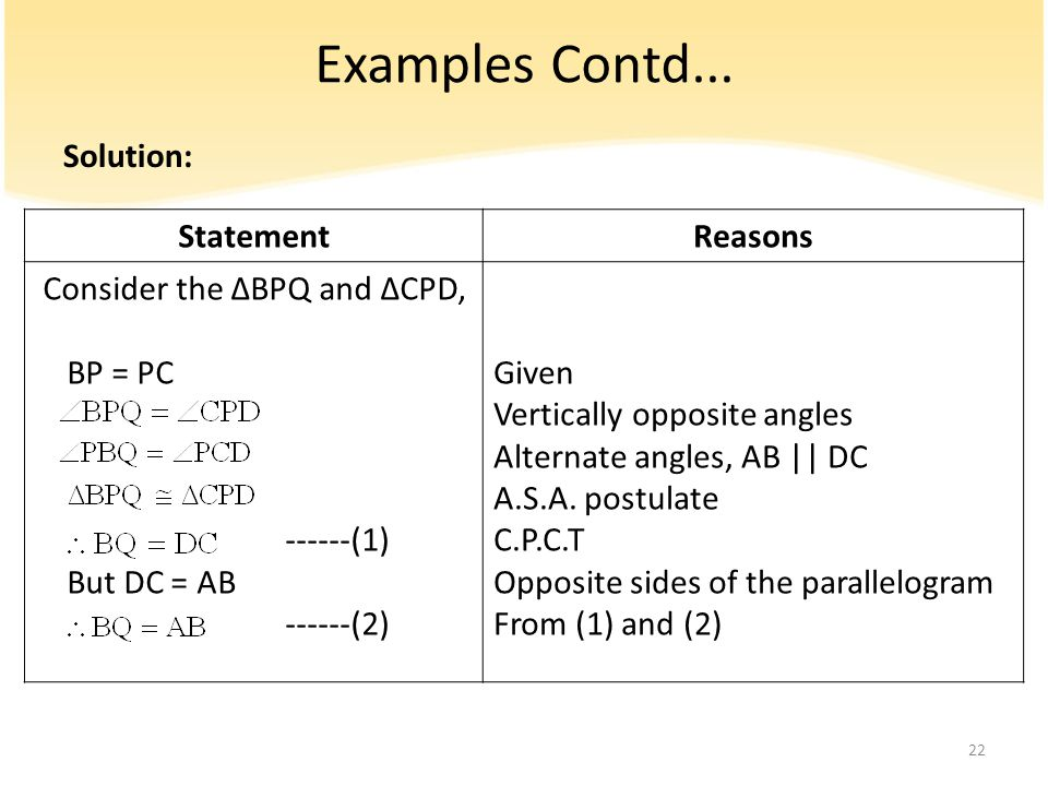 Examples Contd... Solution: Statement Reasons