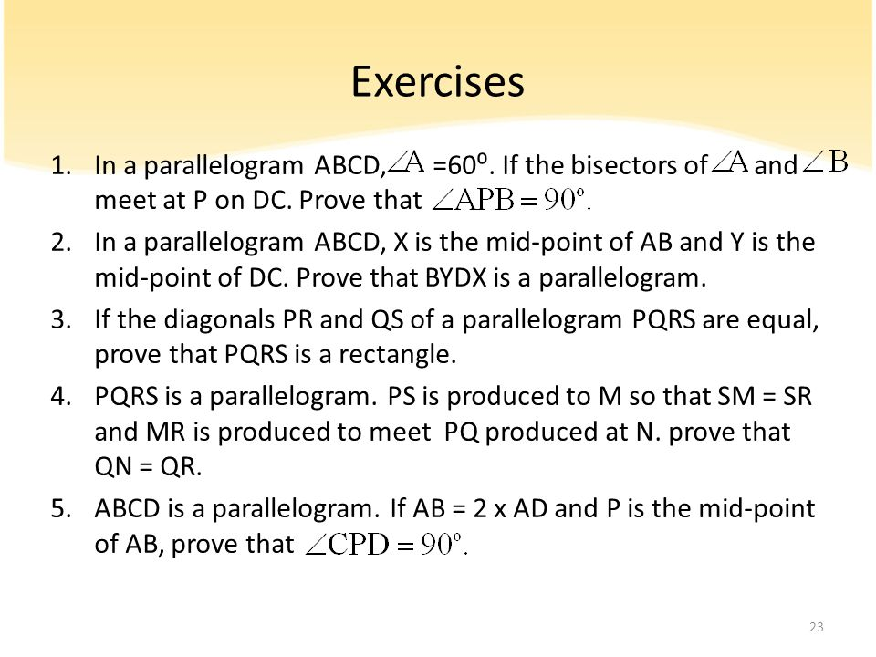 Exercises In a parallelogram ABCD, =60⁰. If the bisectors of and meet at P on DC. Prove that.