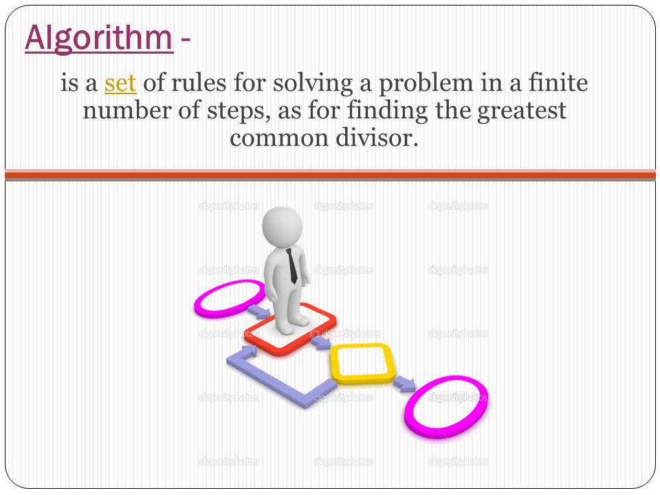 Algorithm - is a set of rules for solving a problem in a finite number of steps, as for finding the greatest common divisor.