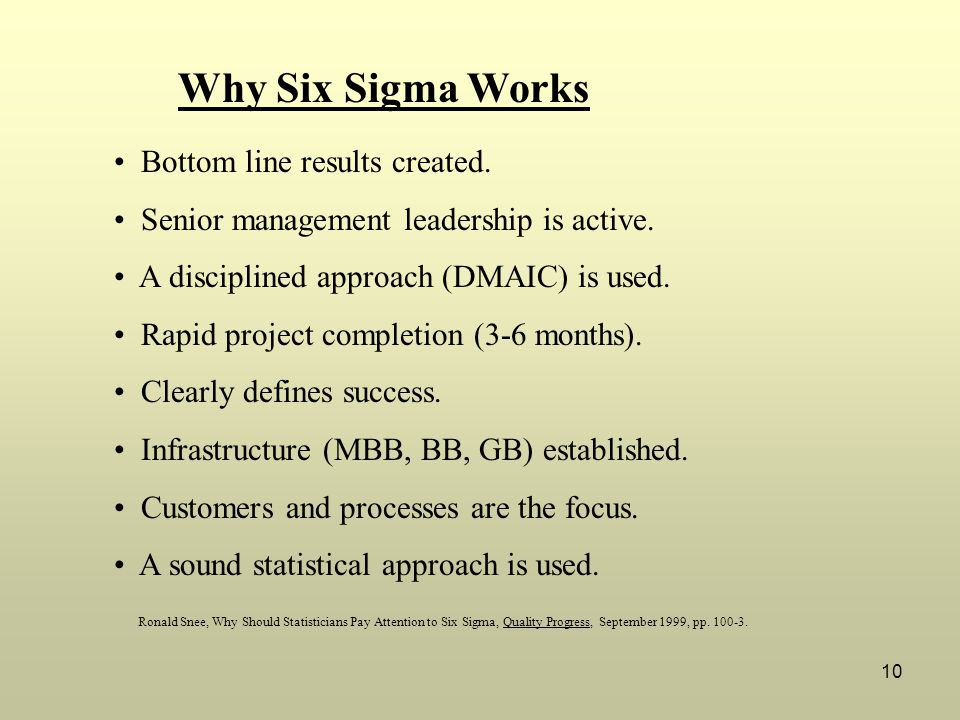 Why Six Sigma Works Bottom line results created.