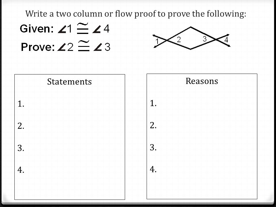 Write a two column or flow proof to prove the following: