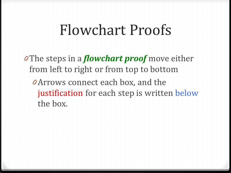 Flowchart Proofs The steps in a flowchart proof move either from left to right or from top to bottom.