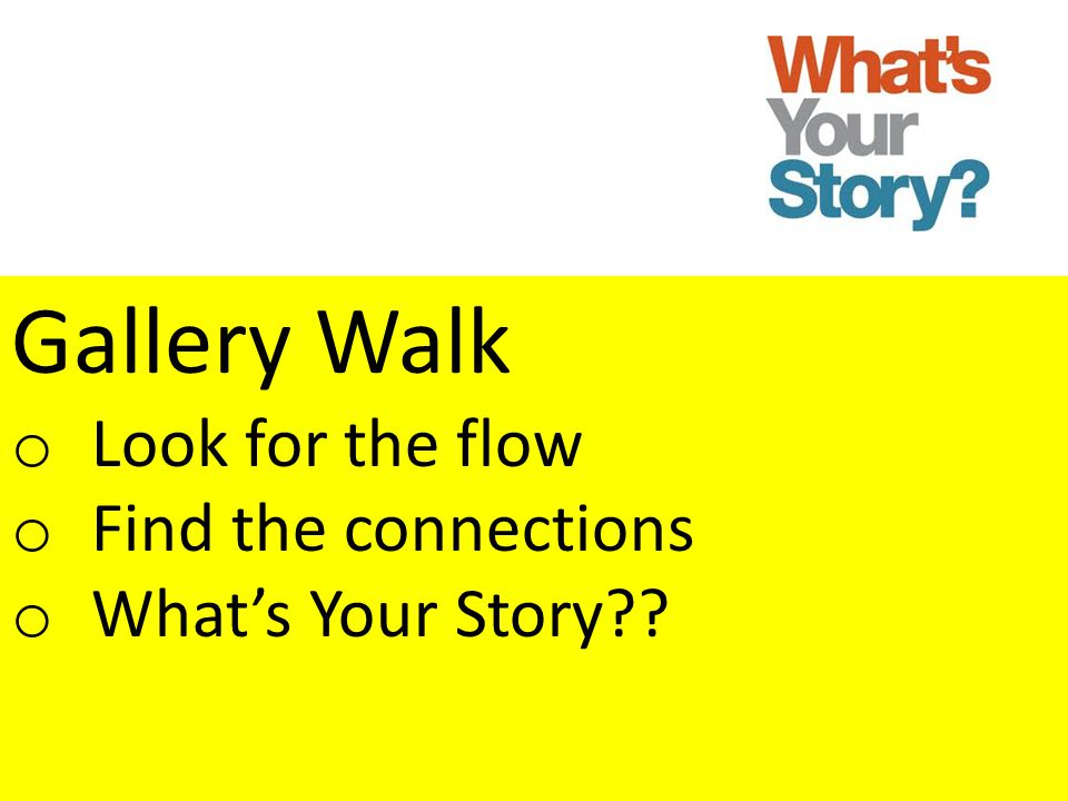 Gallery Walk Look for the flow Find the connections