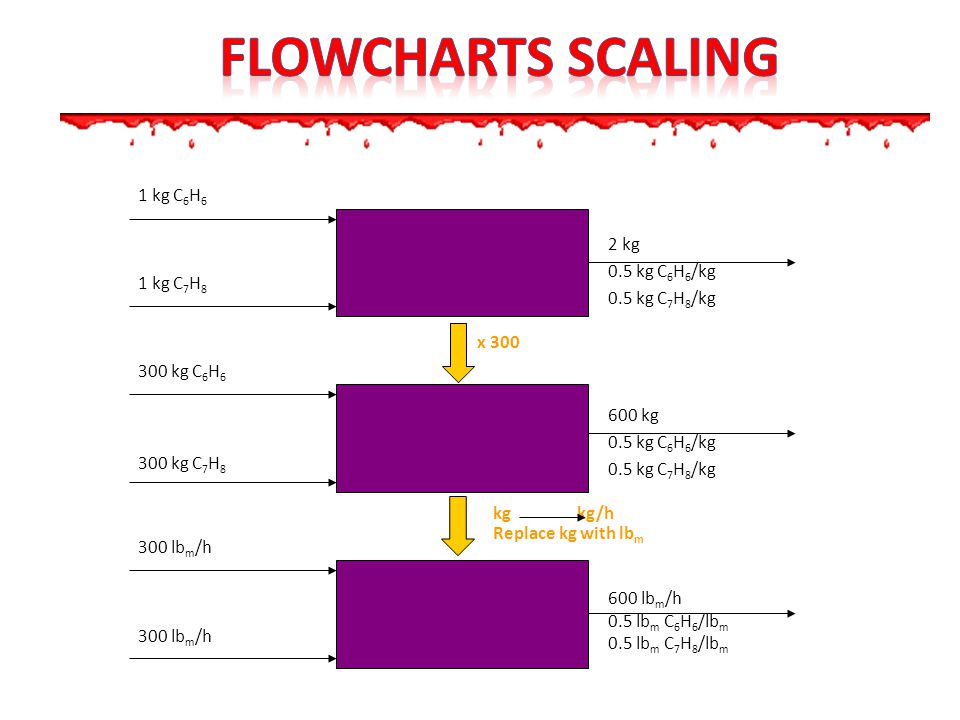 Flowcharts scalING 1 kg C6H6 2 kg 0.5 kg C6H6/kg 0.5 kg C7H8/kg