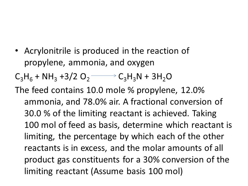 Acrylonitrile is produced in the reaction of propylene, ammonia, and oxygen