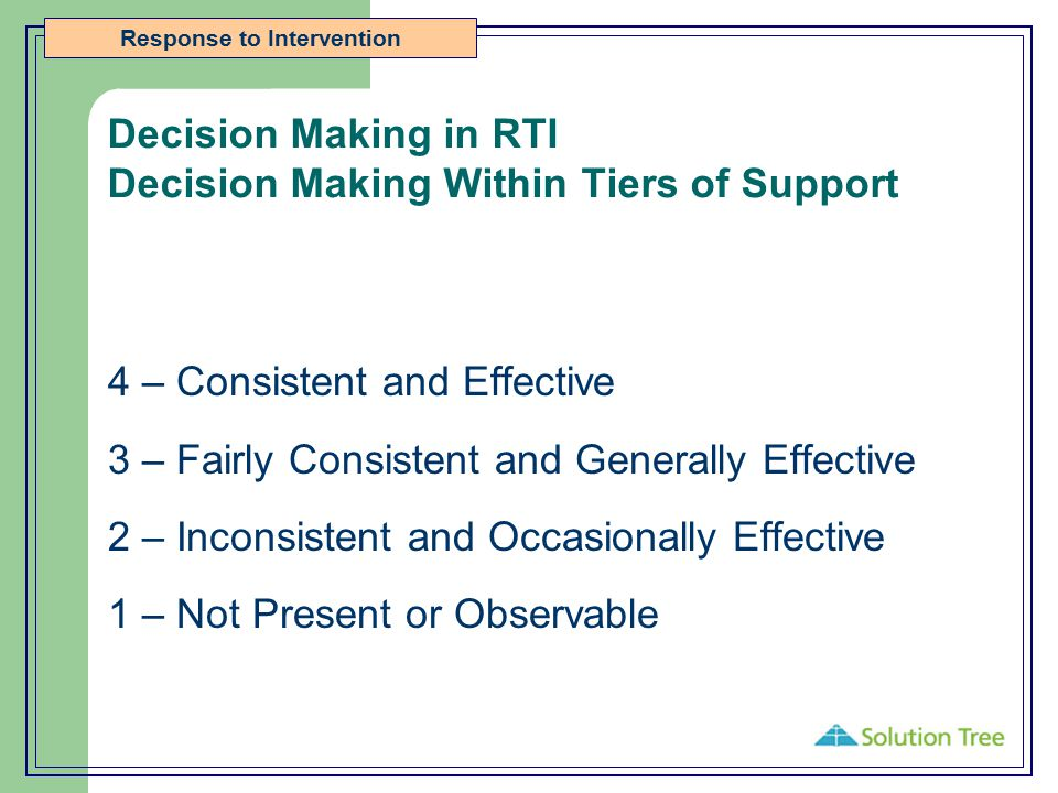 Decision Making in RTI Decision Making Within Tiers of Support