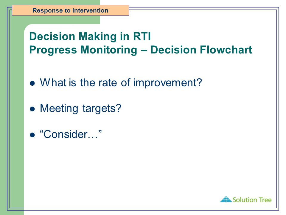 Decision Making in RTI Progress Monitoring – Decision Flowchart