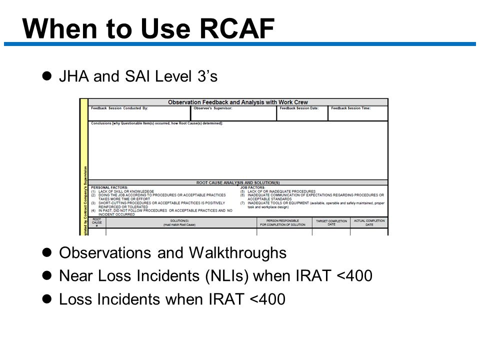 When to Use RCAF JHA and SAI Level 3's Observations and Walkthroughs