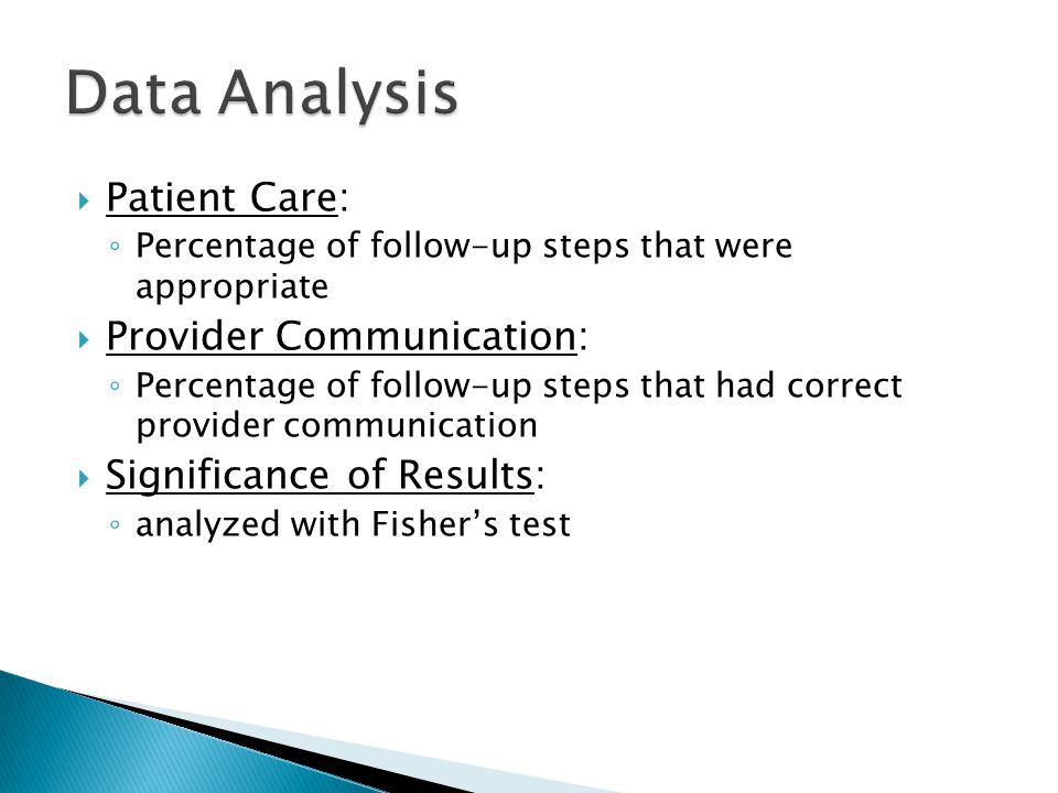 Data Analysis Patient Care: Provider Communication: