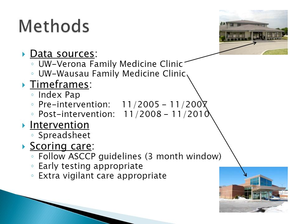 Methods Data sources: Timeframes: Intervention Scoring care: