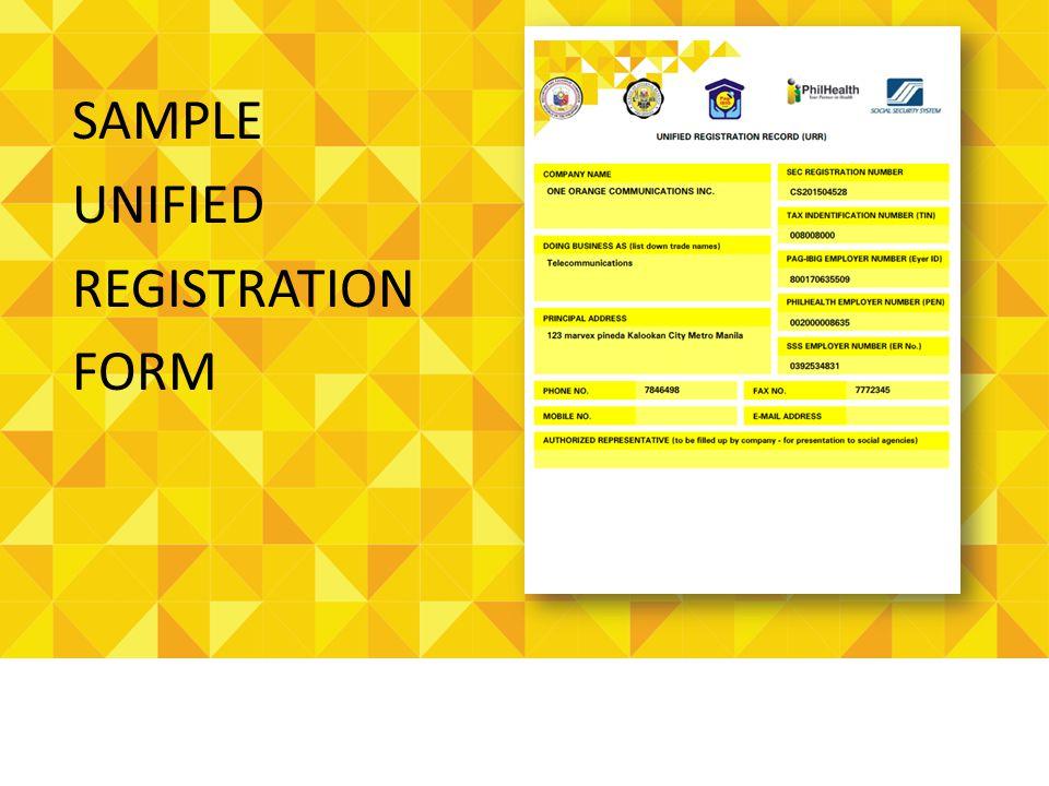 SAMPLE UNIFIED REGISTRATION FORM
