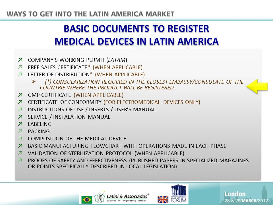 BASIC DOCUMENTS TO REGISTER MEDICAL DEVICES IN LATIN AMERICA