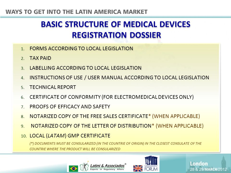 BASIC STRUCTURE OF MEDICAL DEVICES REGISTRATION DOSSIER