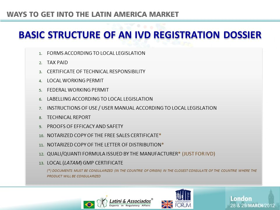 BASIC STRUCTURE OF AN IVD REGISTRATION DOSSIER