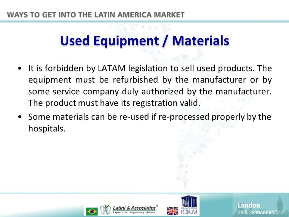 Used Equipment / Materials