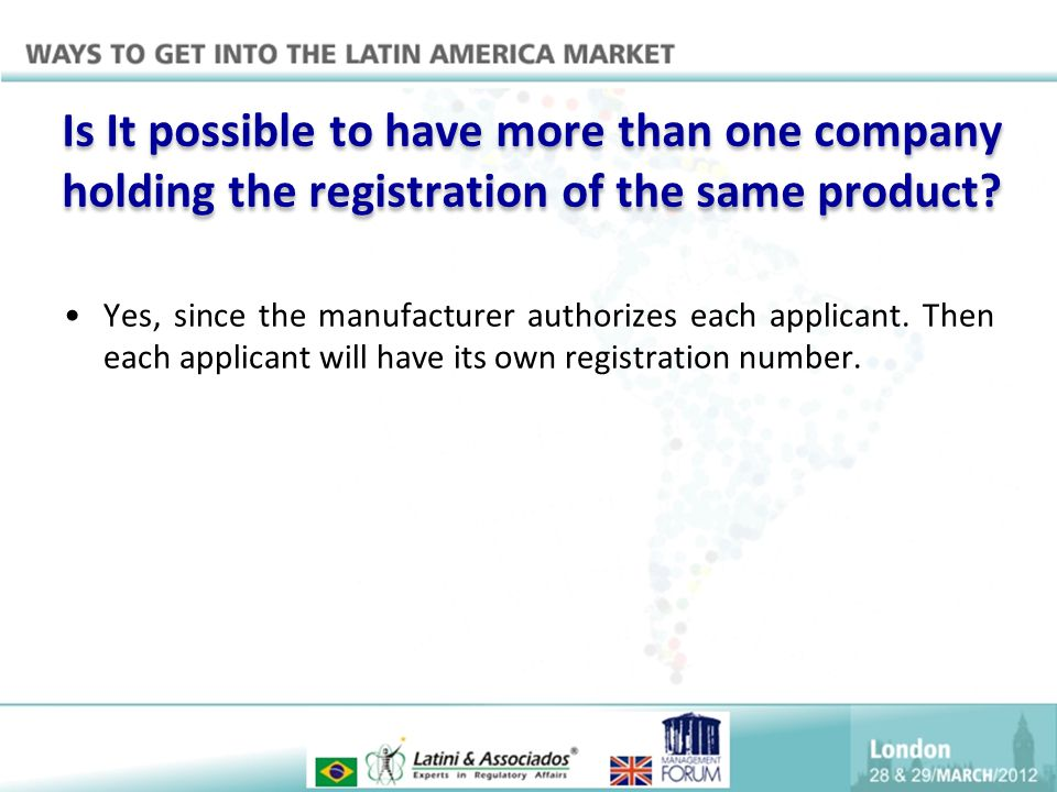 Is It possible to have more than one company holding the registration of the same product
