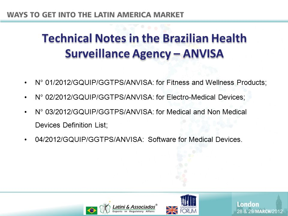Technical Notes in the Brazilian Health Surveillance Agency – ANVISA