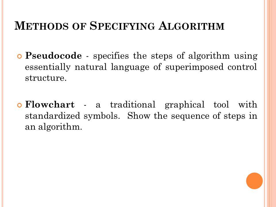 Methods of Specifying Algorithm
