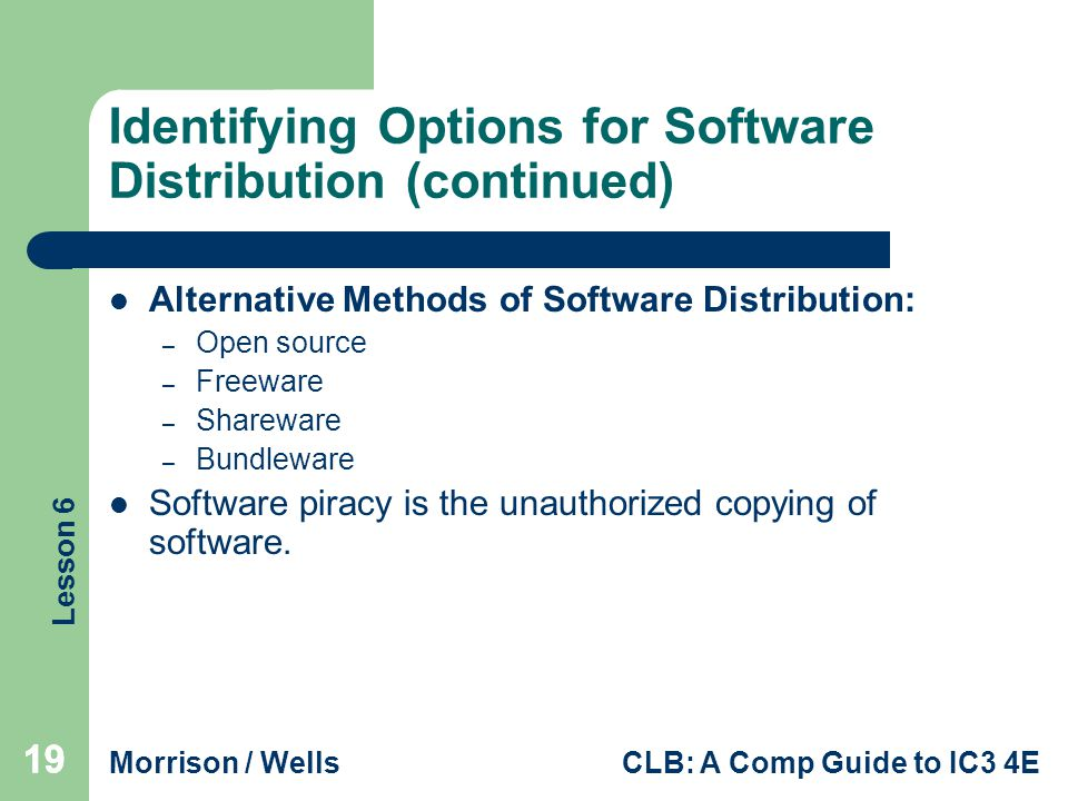 Identifying Options for Software Distribution (continued)