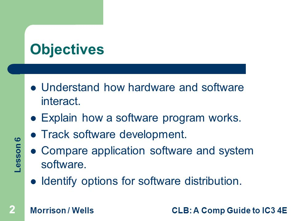 Objectives Understand how hardware and software interact.