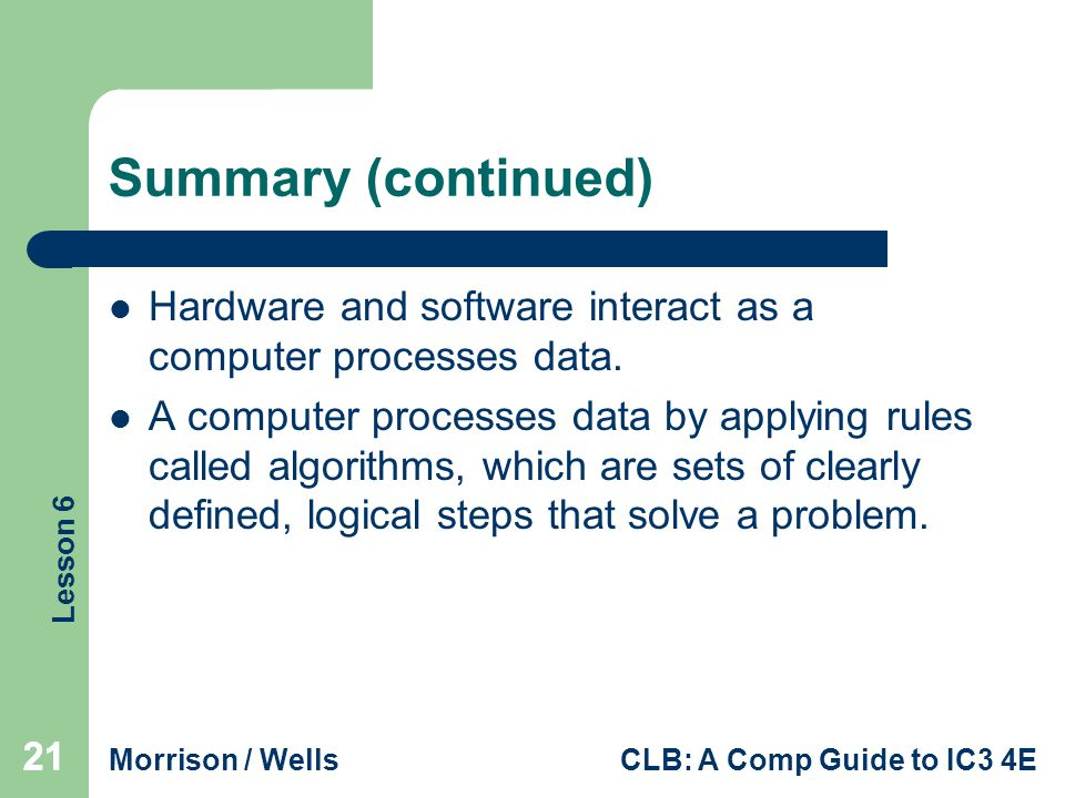 Summary (continued) Hardware and software interact as a computer processes data.