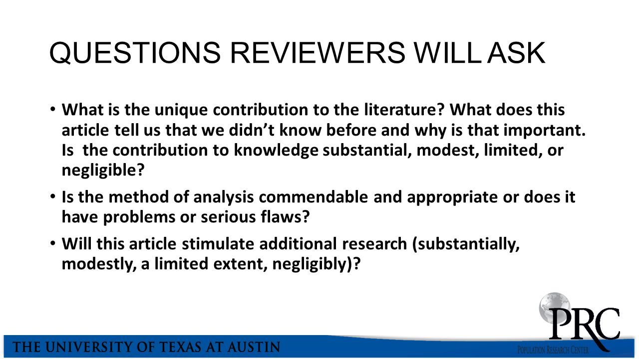 QUESTIONS REVIEWERS WILL ASK