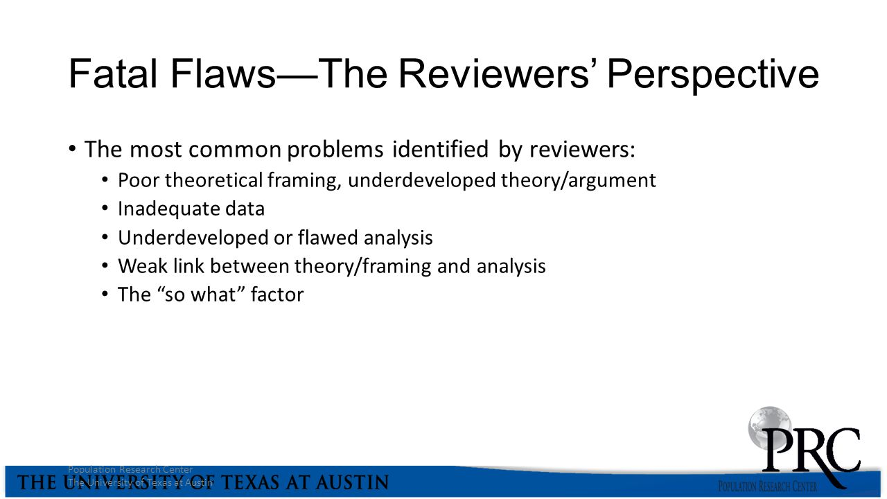 Fatal Flaws—The Reviewers' Perspective