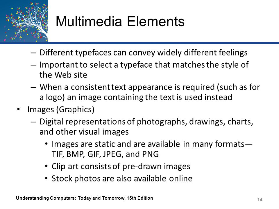 Multimedia Elements Different typefaces can convey widely different feelings. Important to select a typeface that matches the style of the Web site.