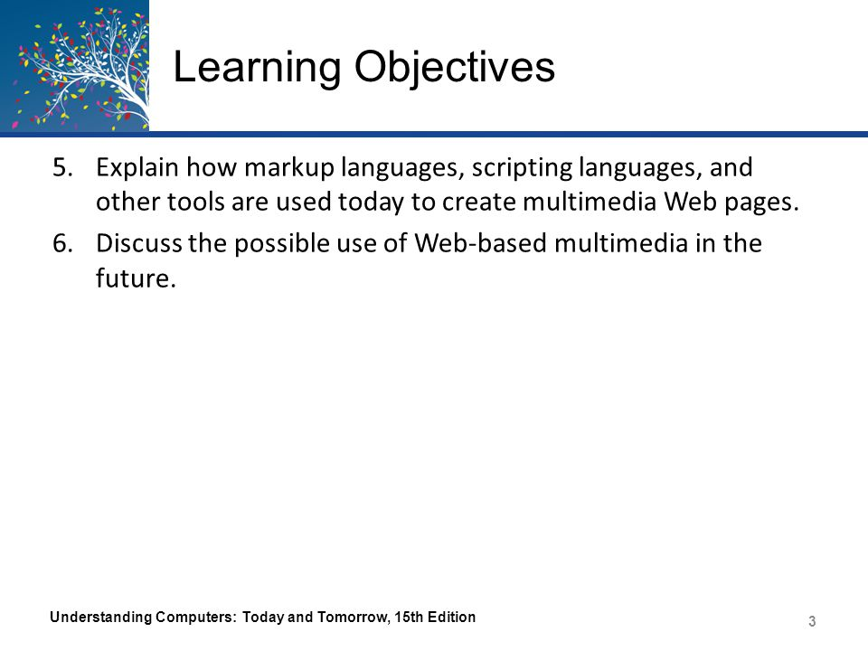 Learning Objectives Explain how markup languages, scripting languages, and other tools are used today to create multimedia Web pages.