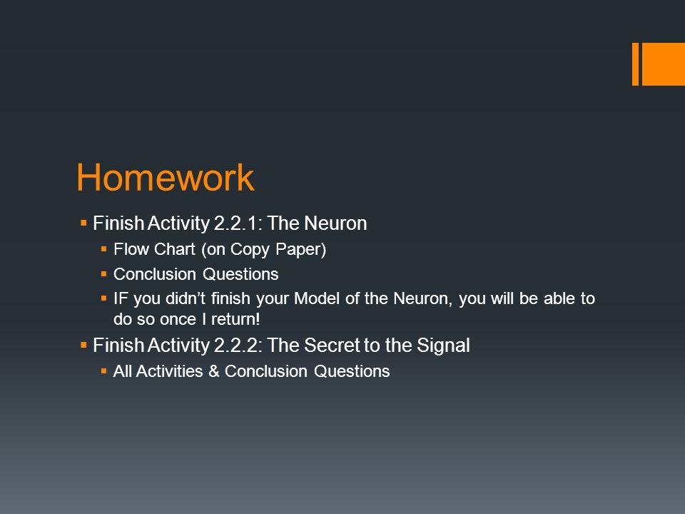 Homework Finish Activity 2.2.1: The Neuron
