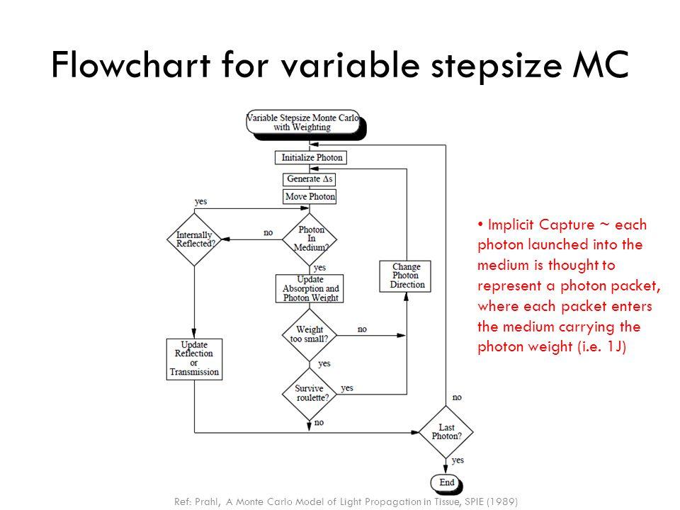 Flowchart for variable stepsize MC