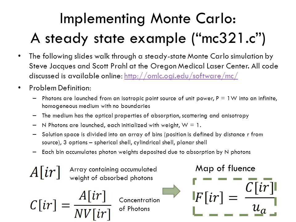 Implementing Monte Carlo: A steady state example ( mc321.c )