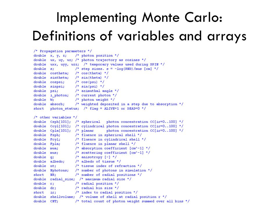 Implementing Monte Carlo: Definitions of variables and arrays