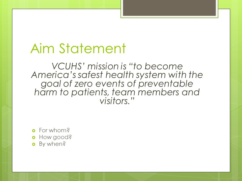 Aim Statement