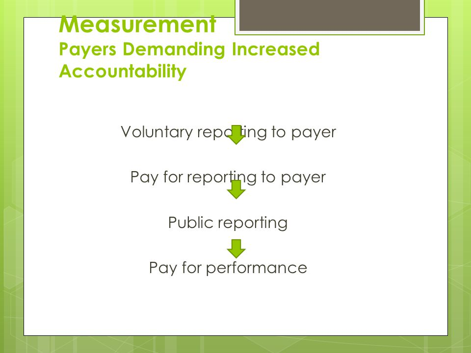 Measurement Payers Demanding Increased Accountability