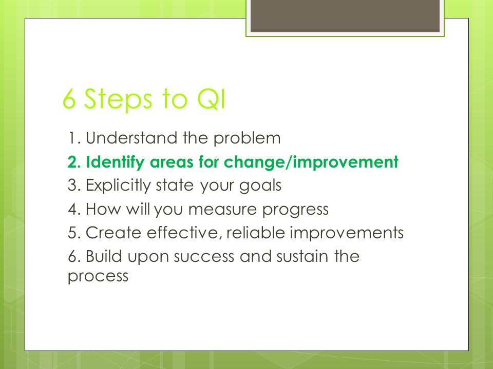 6 Steps to QI