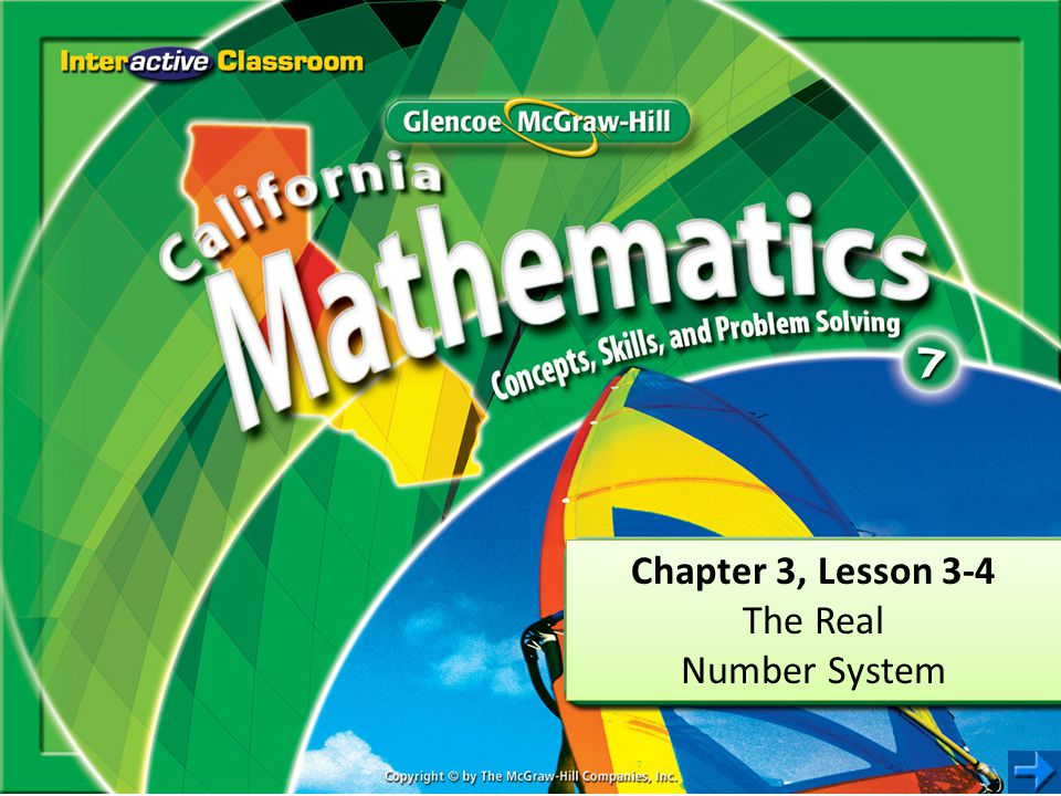 Chapter 3, Lesson 3-4 The Real Number System