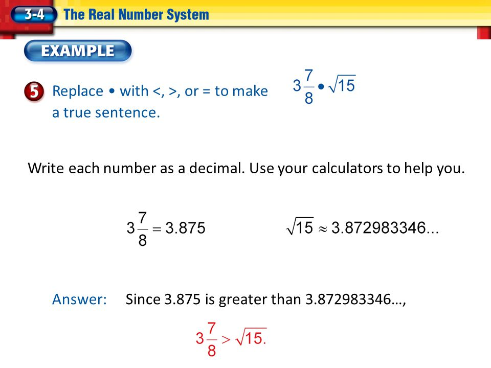 Write each number as a decimal. Use your calculators to help you.