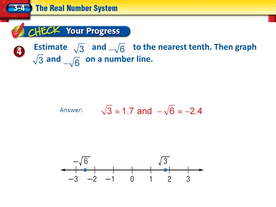 Estimate and to the nearest tenth. Then graph and on a number line.