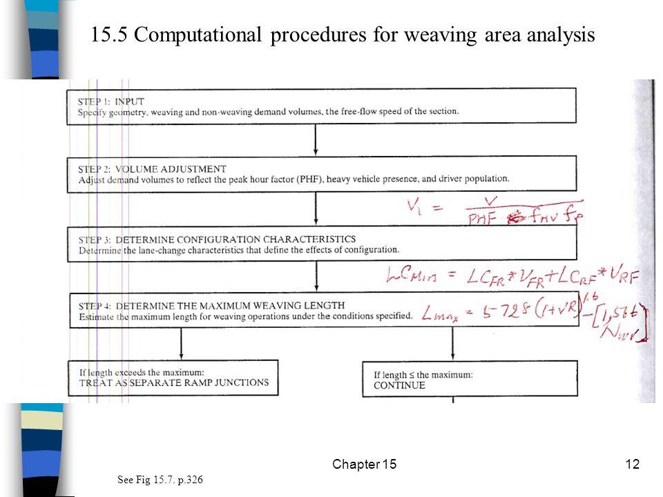 15.5 Computational procedures for weaving area analysis
