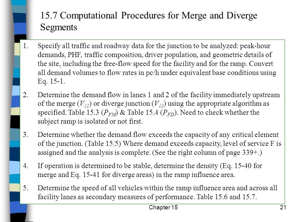 15.7 Computational Procedures for Merge and Diverge Segments