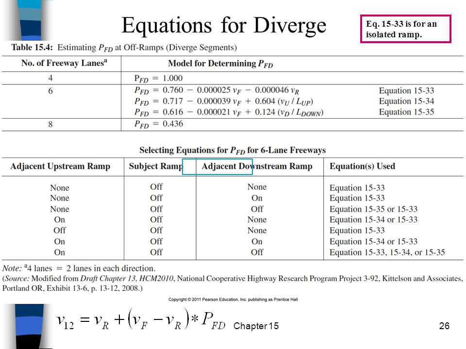 Equations for Diverge Eq. 15-33 is for an isolated ramp. Chapter 15